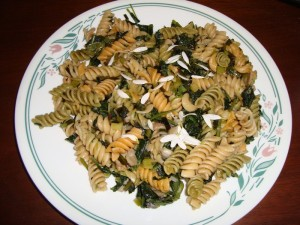 Wild Greens Noodle Medley - Two kinds of sonchus, dandelions, wild garlic, chicory, plantain, thistle, dock, and sprinkled with ox-eye daisy petals